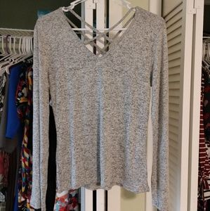 Sweaters - Criss Cross Lt Grey Fitted Sweater, Lg. NWOT